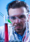 Laboratory equipment,  Man in the lab experimenting Stock Images