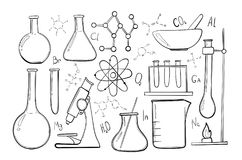 Laboratory equipment sketch set. Science chemistry. Microscope, Glass flasks and test tubes. Chemical experiments royalty free illustration