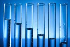 Laboratory equipment, test tubes line full of liquid Stock Photo