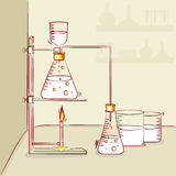 Laboratory equipments with liquids. Royalty Free Stock Photos