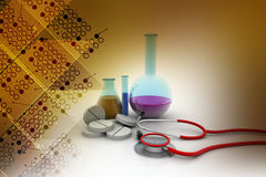 Laboratory equipments with stethoscope Royalty Free Stock Images