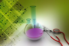 Laboratory equipments with stethoscope Stock Photo
