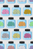 Laboratory examination  brains seamless pattern in jar. Color or Royalty Free Stock Photography