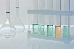 Laboratory experiment. Test-tubes and laboratory glassware stock photos
