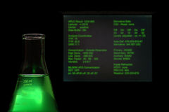 Laboratory Experiment in Science Research Lab. Laboratory glass conical Erlenmeyer flask filled with green liquid in front of a computer monitor screen with Royalty Free Stock Photo