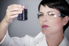 Laboratory Female Personel On Research Royalty Free Stock Images