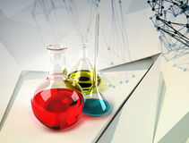 Laboratory flask on abstract  background Stock Photos