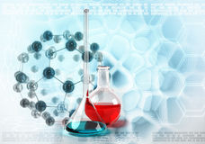 Laboratory flask on molecules stylized background Royalty Free Stock Images