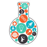 Laboratory flask with Science symbols. Royalty Free Stock Photos