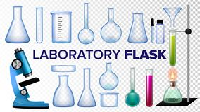 Laboratory Flask Set Vector. Chemical Glass. Beaker, Test-tubes, Microscope. Empty Equipment For Chemistry Experiments. Realistic Transparent Illustration royalty free illustration