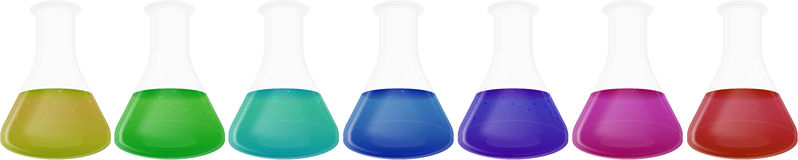 Laboratory Flasks. With Different Colored Substances Stock Photography