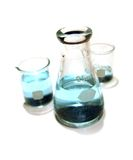 Laboratory Flasks. Lab flasks for research, medical, chemical or scientific use Stock Photo