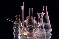 Laboratory flasks stock images