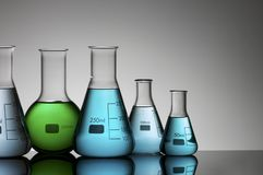 Laboratory flasks Stock Photos