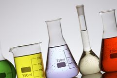 Laboratory flasks Stock Photo
