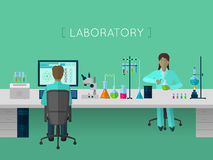 Laboratory flat concept Stock Photography