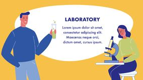 Laboratory Flat Vector Web Banner with Text Space vector illustration