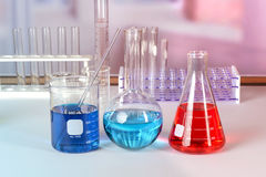 LAboratory Glaasware With Fluids Stock Image