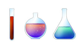 Laboratory glass beakers. Vector laboratory glass beakers on white background Stock Image