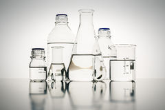 Laboratory glass bottles Stock Photography