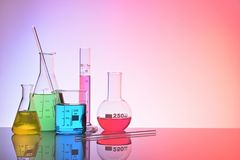 Laboratory glass chemical containers colorfull concept Stock Photo