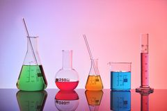 Laboratory glass chemical containers colorfull general view Stock Image