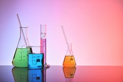 Laboratory glass chemical containers colorfull Royalty Free Stock Image