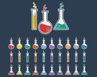 Laboratory Glass Icon Set Stock Photo