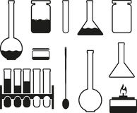Laboratory glass icons Royalty Free Stock Images