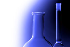 Laboratory glasses. Over blue background Royalty Free Stock Photography