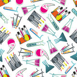 Laboratory glasses, tubes and flasks pattern Stock Photo