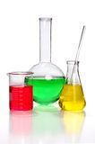 Laboratory Glassware. With Flasks and beaker isolated over white background stock photos