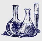 Laboratory glassware. Doodle style. Vector Royalty Free Stock Images