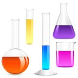 Laboratory Glassware. Vector illustration of Laboratory glassware with colorful liquid Royalty Free Stock Photos