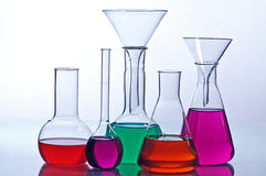 Laboratory  glassware. With solution  colorful Royalty Free Stock Photography