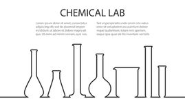Laboratory glassware banner. Banner from Laboratory glassware in linear style. Template for chemical researching. Vector illustration Stock Image