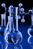 Laboratory Glassware in blue background stock photo