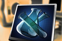 Laboratory glassware on blue background at monitor. 3D rendered Royalty Free Stock Photos