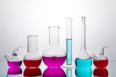 Laboratory glassware with chemicals Royalty Free Stock Image