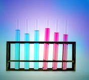 laboratory glassware with chemicals Stock Photos