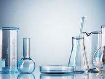 Laboratory glassware. On color background Royalty Free Stock Photo