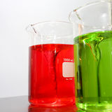 Laboratory glassware with color liquid Stock Images