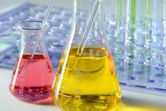 Laboratory Glassware With Color Liquids Stock Photo