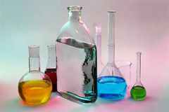 Laboratory Glassware. On a colorful background Stock Photo