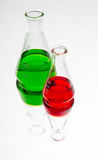 Laboratory glassware with colorful fluid Stock Photo