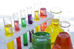 Laboratory glassware. With colorful liquid Royalty Free Stock Images