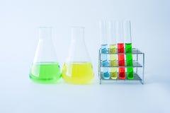 Laboratory glassware with colorful liquids Stock Image