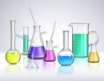 Laboratory Glassware Realistic Composition. Laboratory glassware composition with liquids and experiment symbols realistic vector illustration royalty free illustration