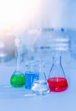 Laboratory glassware containing chemical liquid, science researc Stock Images