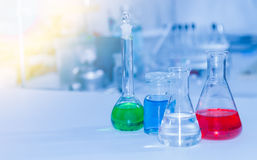 Laboratory glassware containing chemical liquid, science researc Royalty Free Stock Photography